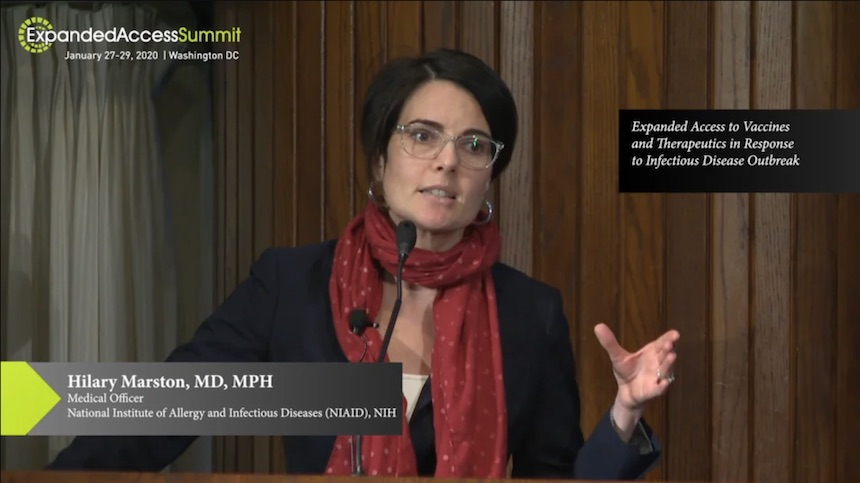 Hilary Marston, MD, MPH at the 2020 Expanded Access Summit